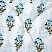 White Blue and Green Block Print Cotton Fabric-14712
