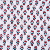White Blue and Maroon Block Print Cotton Fabric-14729