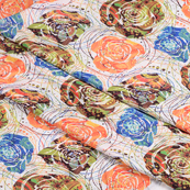 White-Blue and Orange Unique Silk Crepe Fabric-18121