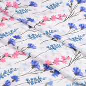 White-Blue and Pink Flower Silk Crepe Fabric-18103