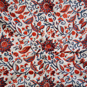 White Blue and Red Block Print Cotton Fabric-14625