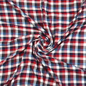 White-Blue and Red Checks Cotton Handloom Fabric-40277