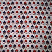 White Blue and Red Crabs Pattern Hand Block Print Cotton Fabric