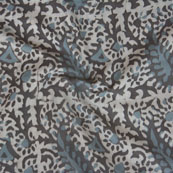 White Brown Block Print Cotton Fabric-14787