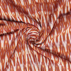 White Brown Ikat Cotton Fabric-11002