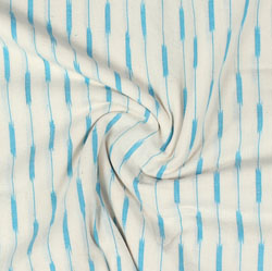 White Cyan Ikat Cotton Fabric-11046