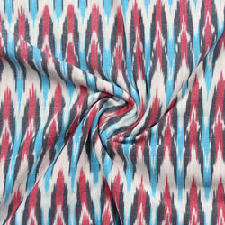 White Cyan and Pink Ikat Cotton Fabric-11081