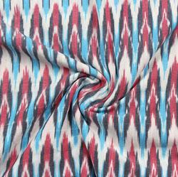White Cyan and Pink Ikat Cotton Fabric-11081