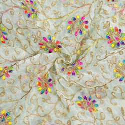 White Golden Floral Embroidery Organza Silk Fabric-22066