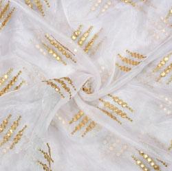 White Golden Gota Work Organza Gota Work Fabric-22198