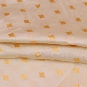 White Golden Star Brocade Silk Fabric-9235