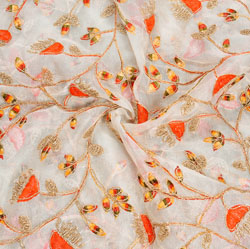 White Golden and Red Floral Embroidery Organza Silk Fabric-22067