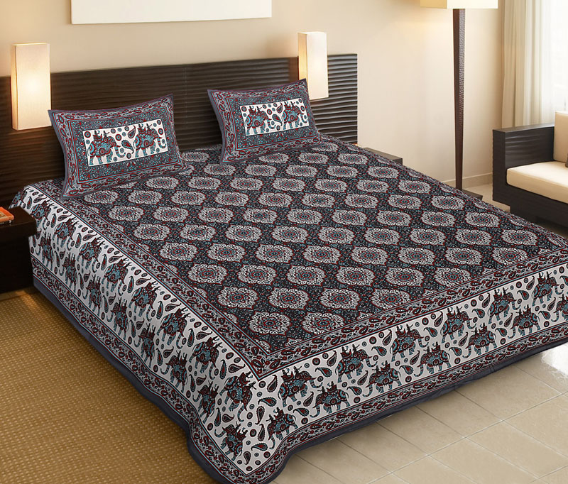 White Gray Cotton Jaipuri Bedsheet-534