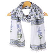 White Gray Floral Cotton Block Print Dupatta With Pom Pom-33112