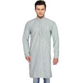 White Gray Stripes Handloom Long Kurta-33157