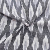 White-Gray and Black Unique Pattern Ikat Fabric-12008