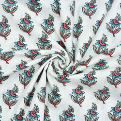 White Gray and Cyan Floral Cotton Fabric-28615