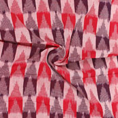 White Gray and Red 3D Ikat Cotton Fabric-12321