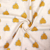 White Gray and Yellow Ikat Block Print Cotton Fabric-14848