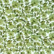 White Green Block Print Cotton Fabric-14582