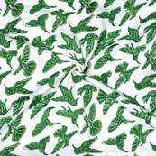 White Green Block Print Cotton Fabric-14688