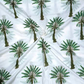 White Green Block Print Cotton Fabric-14697