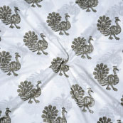 White Green Block Print Cotton Fabric-14715