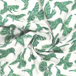 White Green Block Print Cotton Fabric-16195