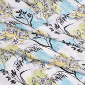 White-Green and Black Flower Silk Crepe Fabric-18117