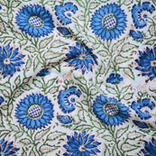 White Green and Blue Block Print Cotton Fabric-14634