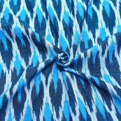 White-Green and Blue Tree Pattern Ikat Fabric-12043