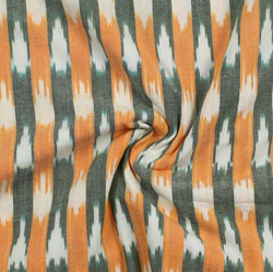 White Green and Orange Ikat Cotton Fabric-11037