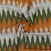 White Green and Orange Ikat Cotton Fabric-12315