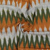 White Green and Orange Ikat Cotton Fabric-12315
