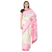White-Green and Pink Cotton Tie Dye Print Saree-20121