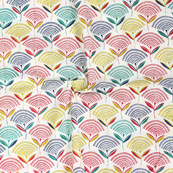 White-Green and Red Leaf Pattern Block Print Cotton Fabric-14279