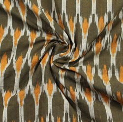 White Green and Yellow Ikat Cotton Fabric-11045
