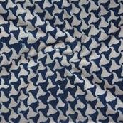 White Indigo Block Print Cotton Fabric-14749