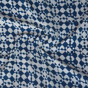 White Indigo Block Print Cotton Fabric-14751