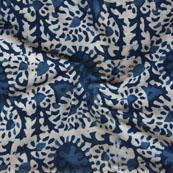 White Indigo Block Print Cotton Fabric-14755