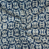 White Indigo Block Print Cotton Fabric-14772
