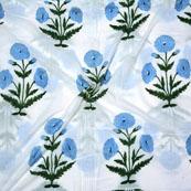 White Light Purple and Green Block Print Cotton Fabric-14703