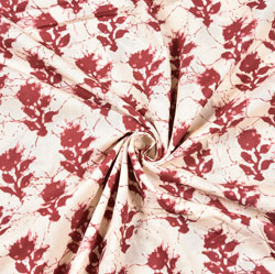 White Maroon Floral Block Print Cotton Fabric-28505