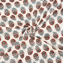 White Maroon and Gray Floral Cotton Fabric-28084
