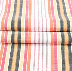 White Multicolor Stripe Cotton Fabric-42400