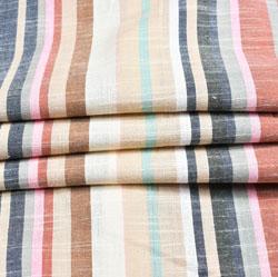 White Multicolor Stripe Cotton Fabric-42401