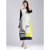 White-Navy Blue and Yellow 3/4 Sleeve Self Printed Rayon Kurti-3055