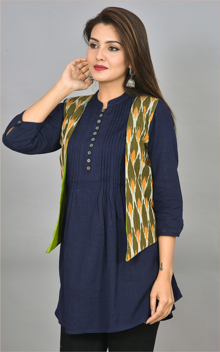 White Olive Green and Yellow Ikat Cotton Koti Jacket-36284