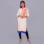 White Orange And Blue Rayon Kurti With Emboridery-22028