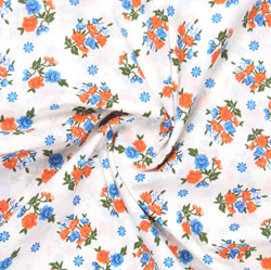White Orange Block Print Cotton Fabric-16068